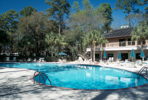 Lounge in the pools at Hilton Head Island Motor Coach Resort.
